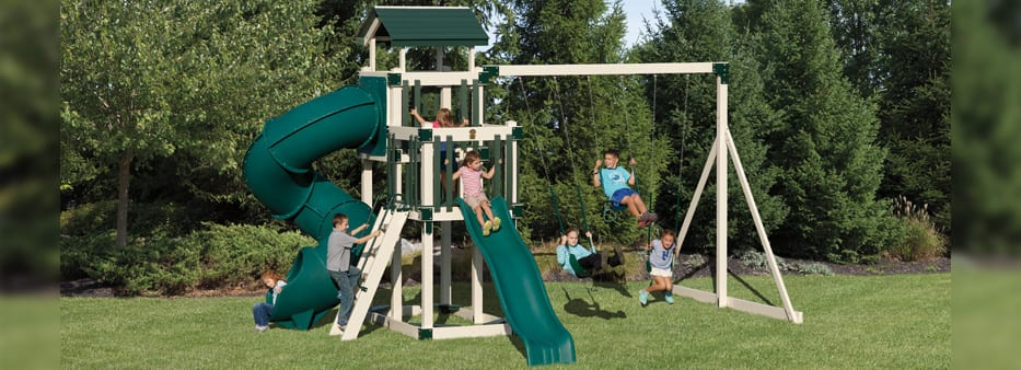 High tower vinyl playset with tube slide and regular slide and high bar with multiple swings