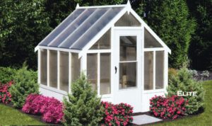 Hobby greenhouse delivered assembled. Portable greenhouse with shelves and fan, perfect from backyard hobby gardeners.