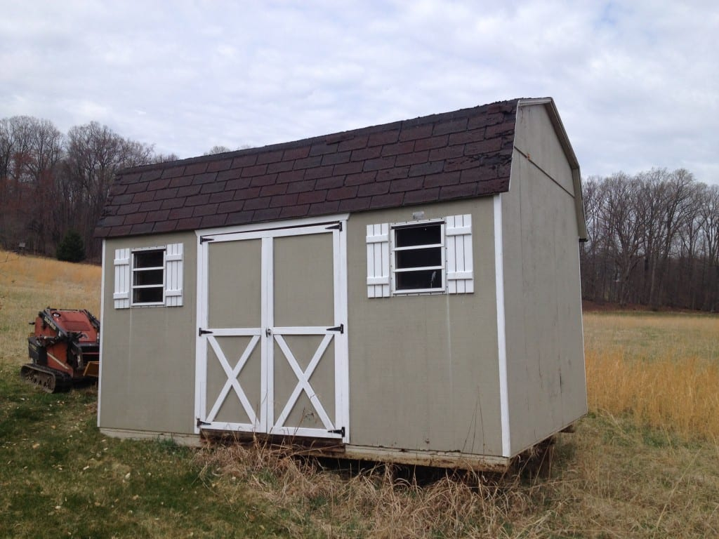 Old storage shed to be removed in Germantown MD. 4-outdoor reviews every shed removal order for accuracy.