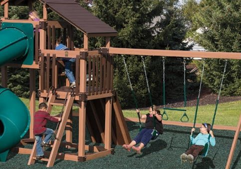Vinyl wrapped affordable swing set available in MD with tower and multiple swings